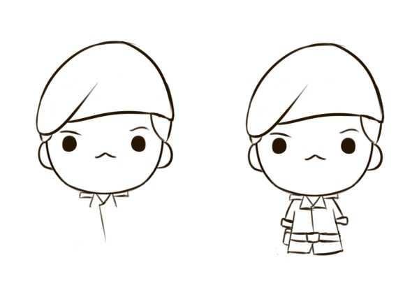 第二步:眼睛基本还是最简单的一个圆圈.