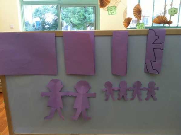 今天,我们学习了剪纸手拉手的小人,利用两次对折后的对称剪,孩子们