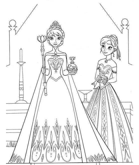 爱莎儿童画 冰雪奇缘简笔画之小公主艾莎和安娜
