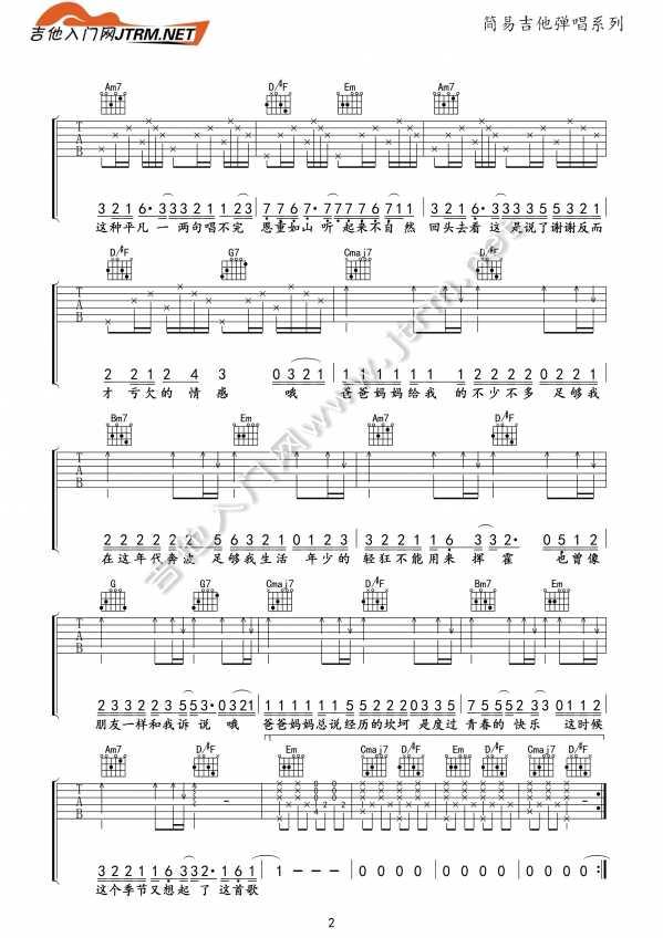 父亲降央卓玛所唱的曲谱-爸爸妈妈吉他弹唱 李荣浩 爸爸妈妈 吉他弹唱附弹唱指弹谱