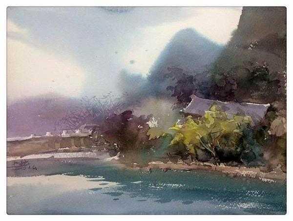 云水谣水彩写生图片 李和畅水彩写生作品展在郑州展出