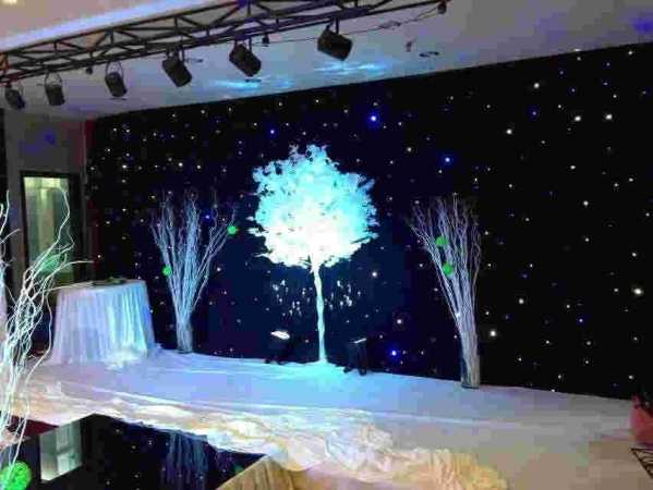 星空幕布婚礼 韩式浪漫星空系主题婚礼舞台灯光布置图片