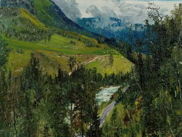 新疆风景油画 肖育新疆喀纳斯风景油画写生作品100幅