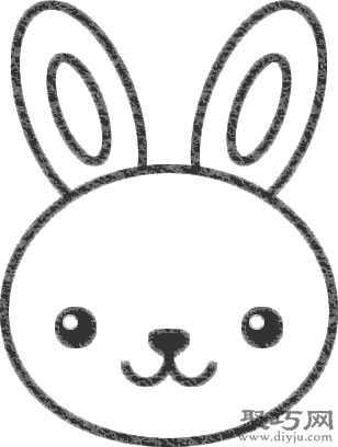 步骤1,先画出兔子头像的脸部轮廓线,有点横宽的椭圆形.